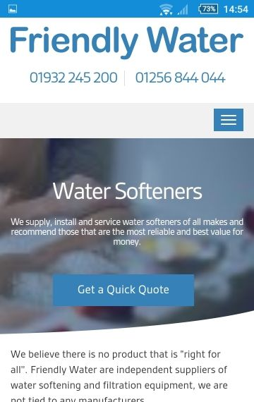 Friendly Water web design mobile layout